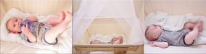 תינוק ישן ומשחק בערסל לתינוקות
